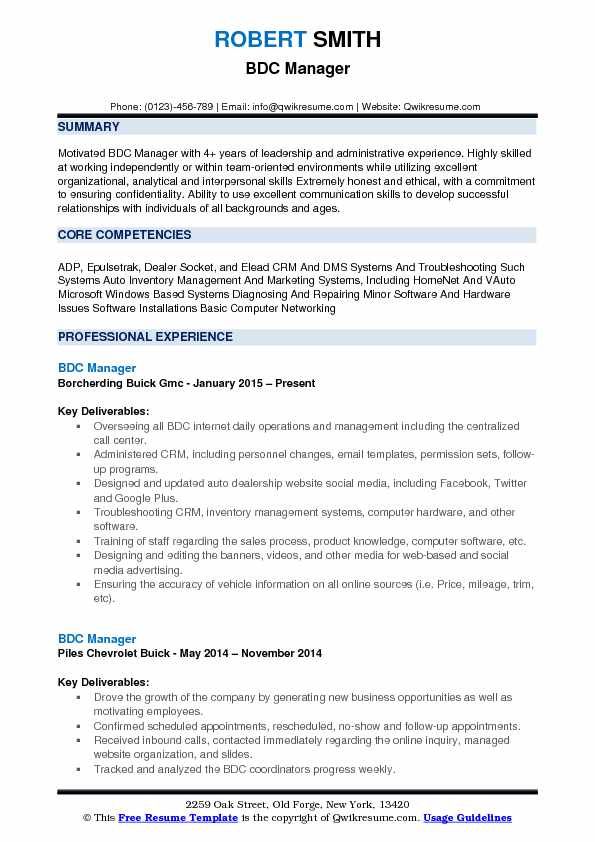 bdc manager resume samples