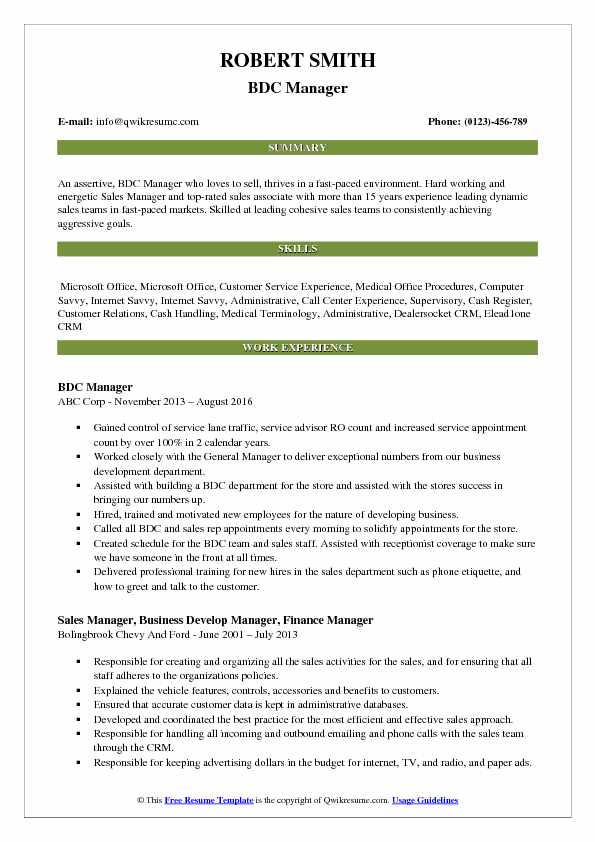 BDC Manager Resume Template