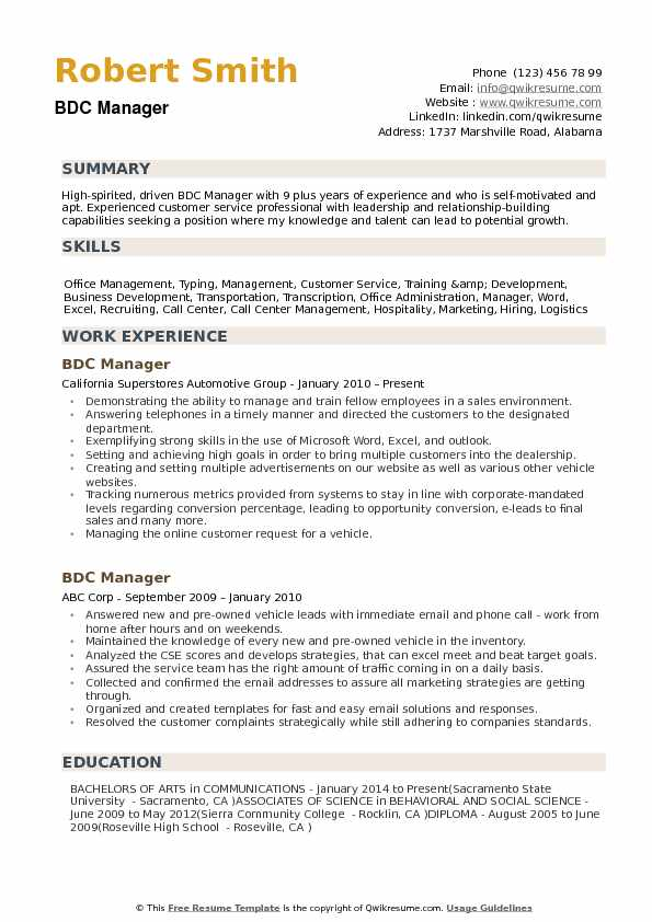 BDC Manager Resume Samples | QwikResume