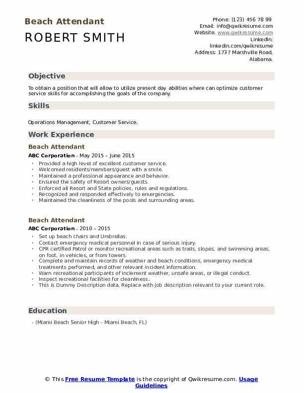 Beach Attendant Resume example