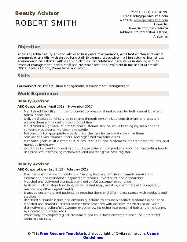 Beauty Advisor Resume Samples