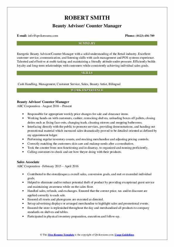 Beauty Advisor/ Counter Manager Resume Sample