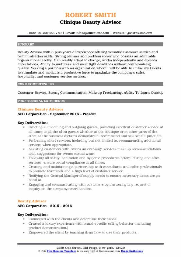 Beauty Advisor Resume example