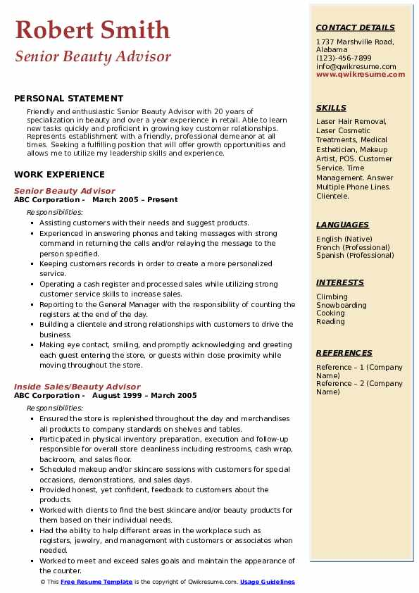 Beauty Advisor Resume Samples Qwikresume