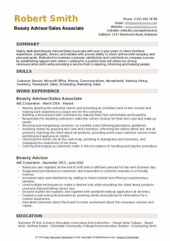 Beauty Advisor/Sales Associate Resume Format