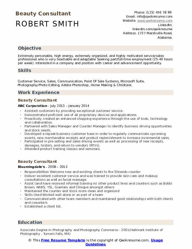 Beauty Consultant Resume Template