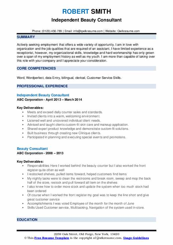 Independent Beauty Consultant Resume Example