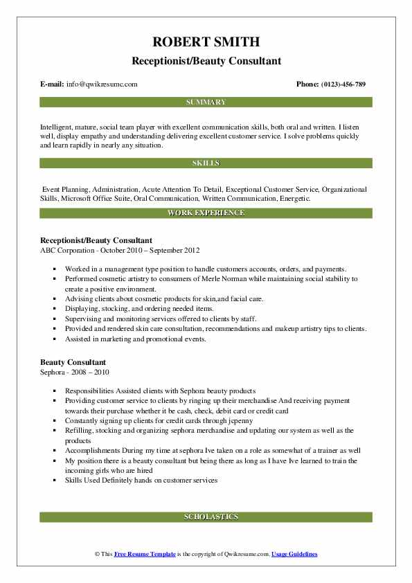 Receptionist/Beauty Consultant Resume Sample