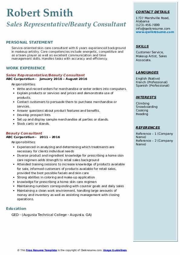 Sales Representative/Beauty Consultant Resume Sample
