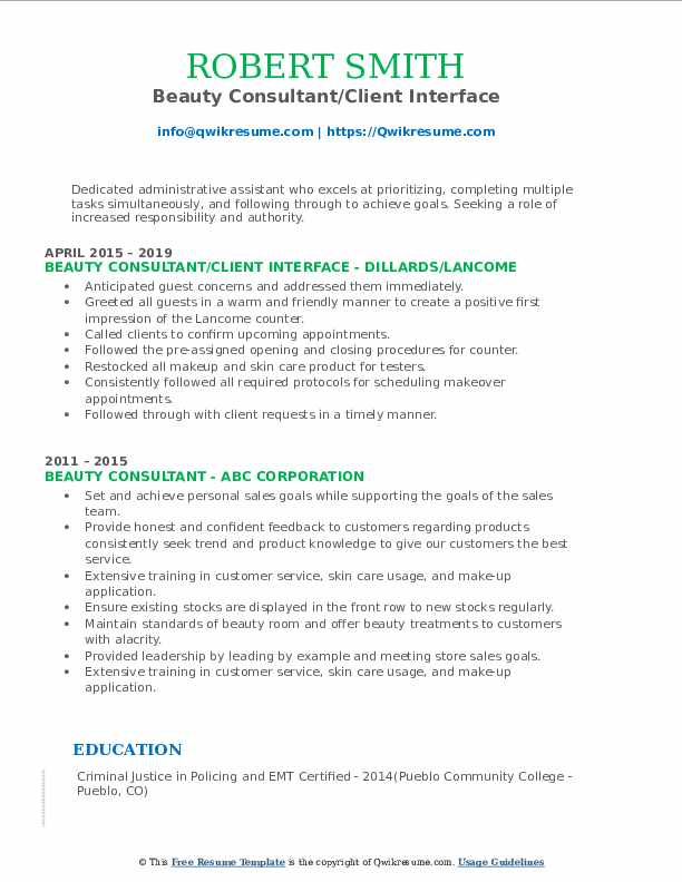 Beauty Consultant/Client Interface Resume Format