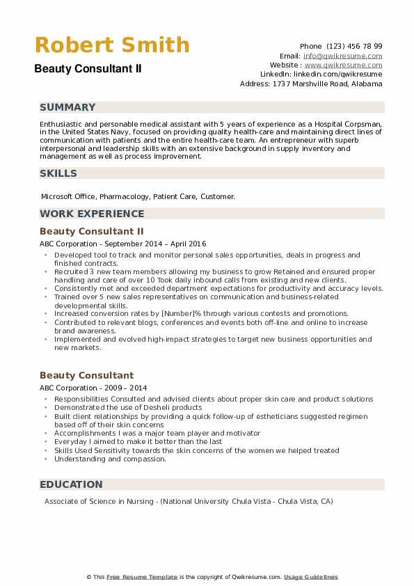 Beauty Consultant II Resume Format