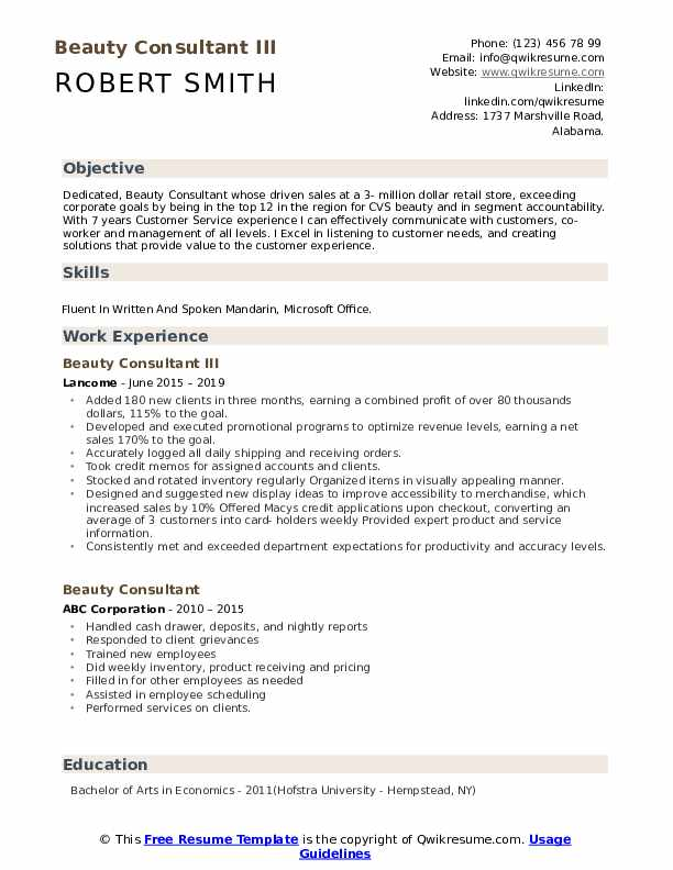 Beauty Consultant Resume Samples | QwikResume