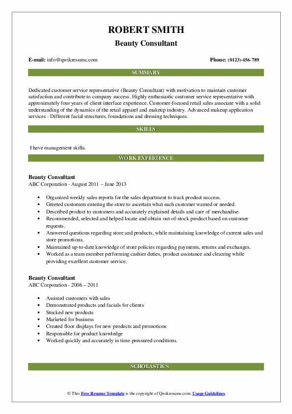 Beauty Consultant Resume example
