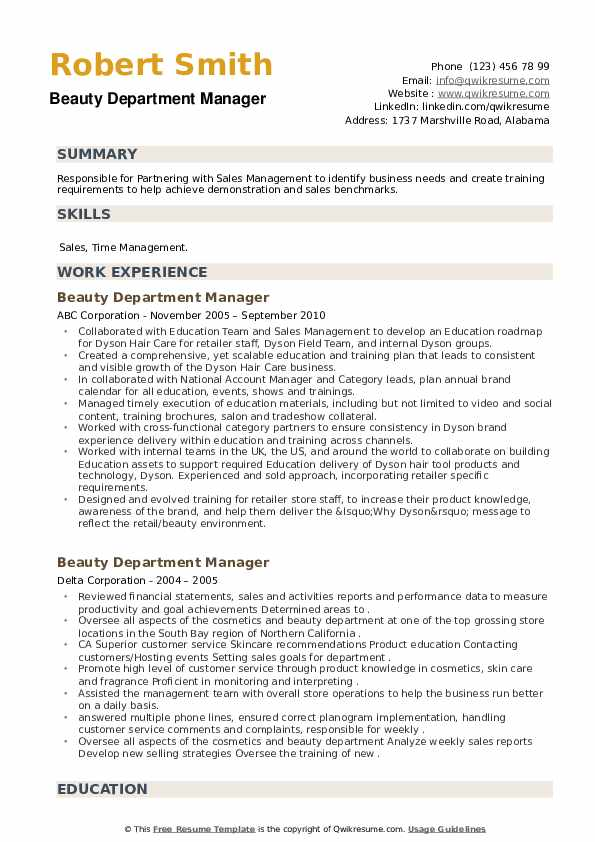 Beauty Department Manager Resume example