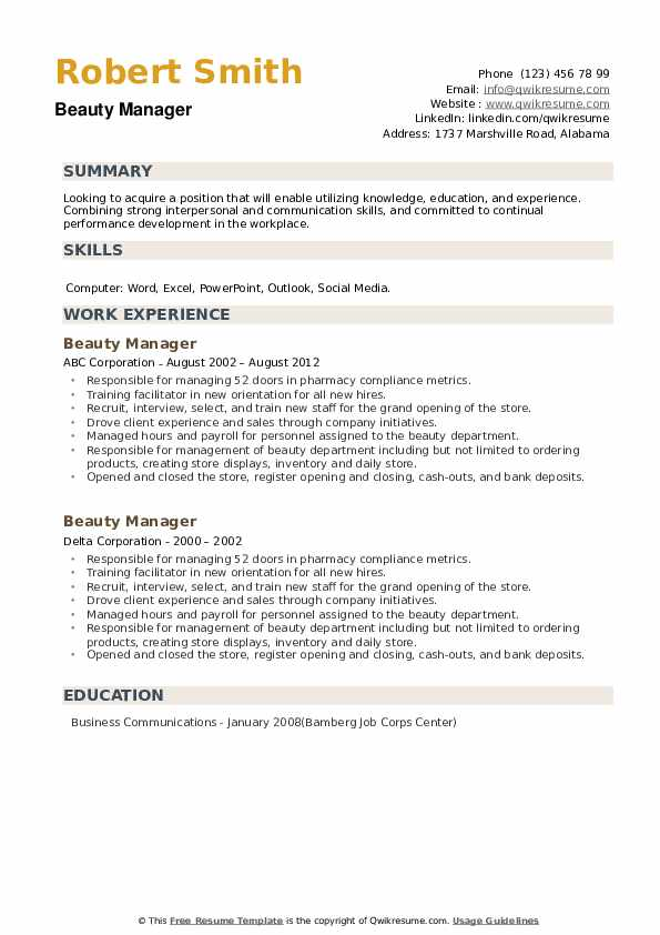 Beauty Manager Resume example