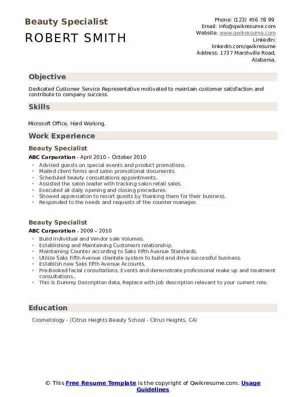 Beauty Specialist Resume example