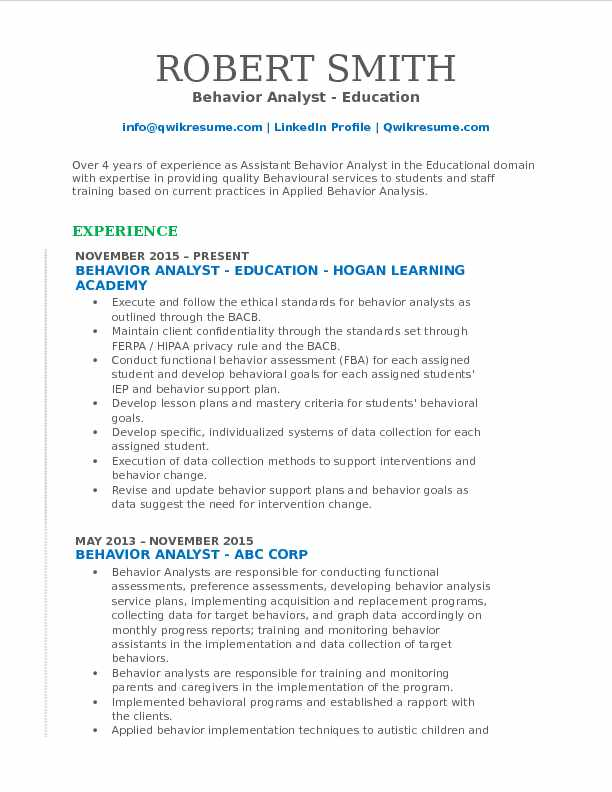Behavior Analyst Resume Samples | QwikResume