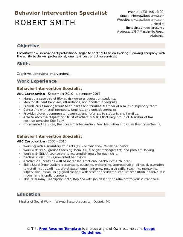 Behavior Intervention Specialist Resume example