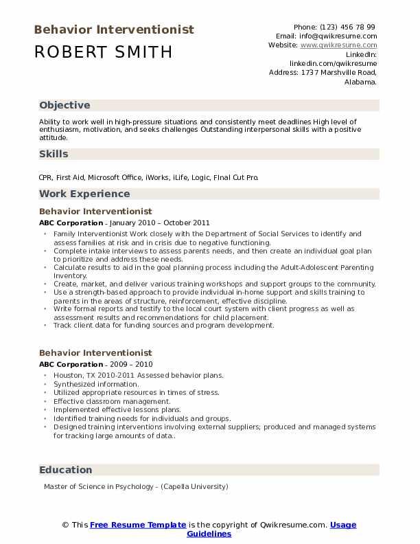 Behavior Interventionist Resume Format