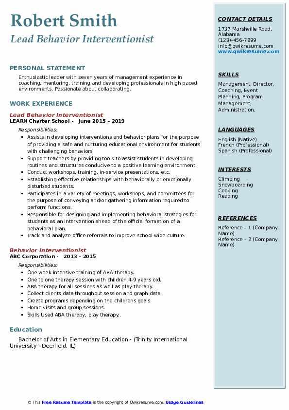 Lead Behavior Interventionist Resume Sample