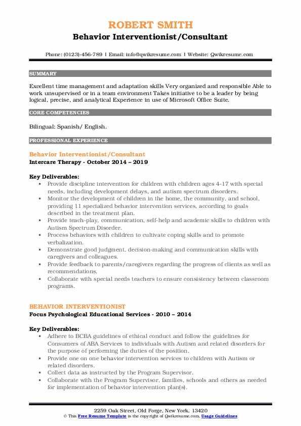 Behavior Interventionist/Consultant Resume Sample