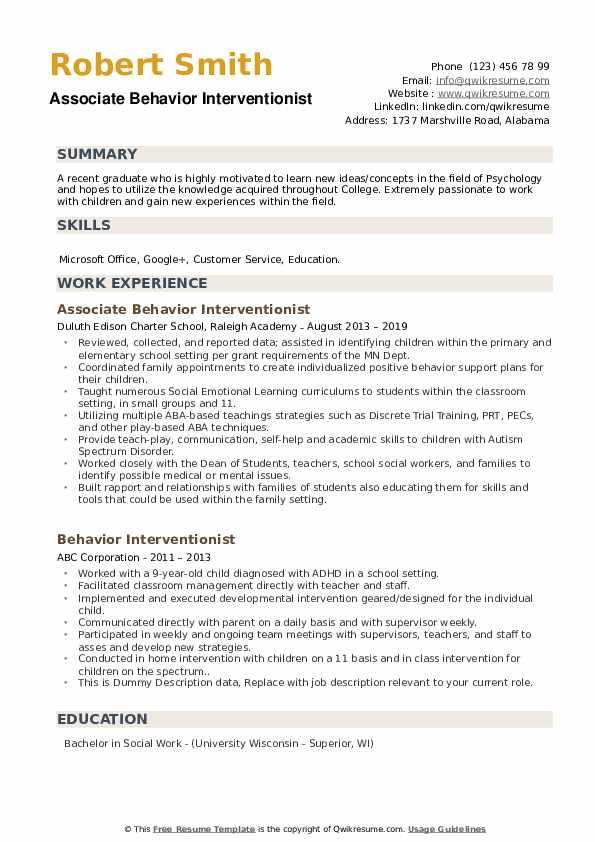 Associate Behavior Interventionist Resume Model