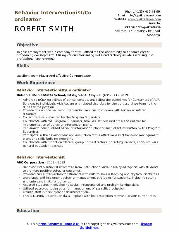 Behavior Interventionist/Co ordinator Resume Model