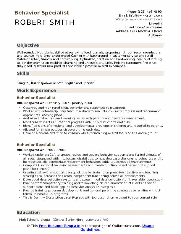 Behavior Specialist Resume Samples Qwikresume