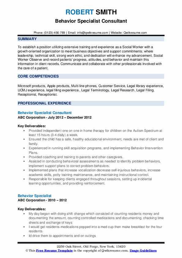 Behavior Specialist Consultant Resume Example