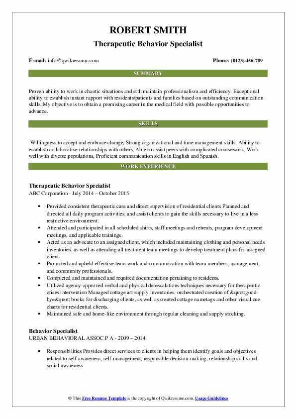 Therapeutic Behavior Specialist Resume Example