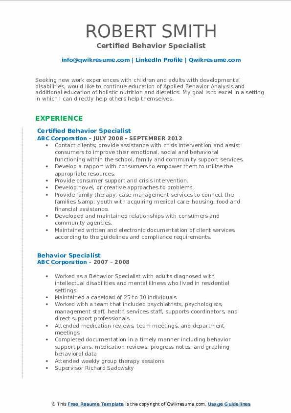 Certified Behavior Specialist Resume Template