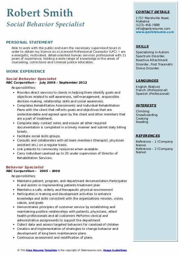 Social Behavior Specialist Resume Model