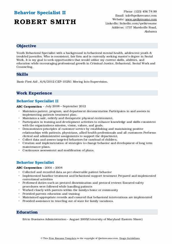 Behavior Specialist II Resume Sample