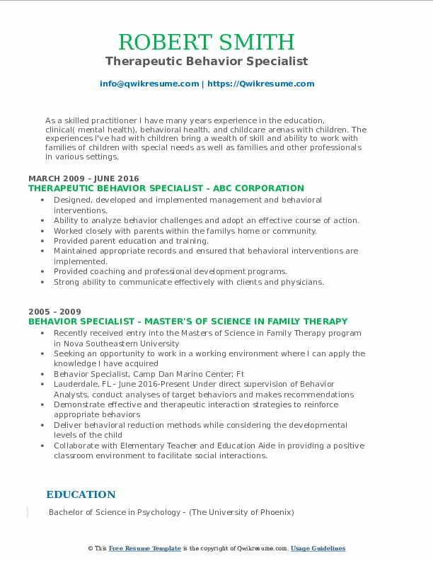 Therapeutic Behavior Specialist Resume Model