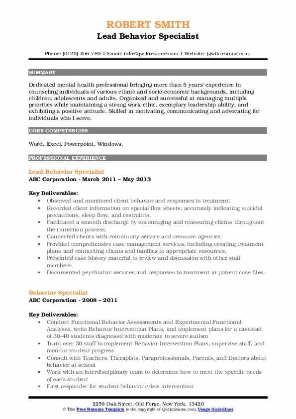 Lead Behavior Specialist Resume Format