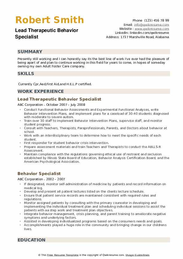 Lead Therapeutic Behavior Specialist Resume Model