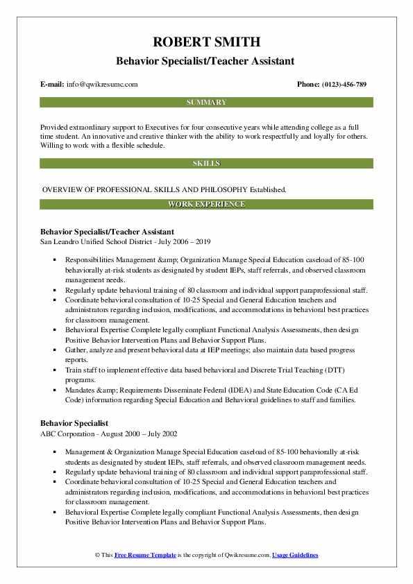 Behavior Specialist/Teacher Assistant  Resume Template