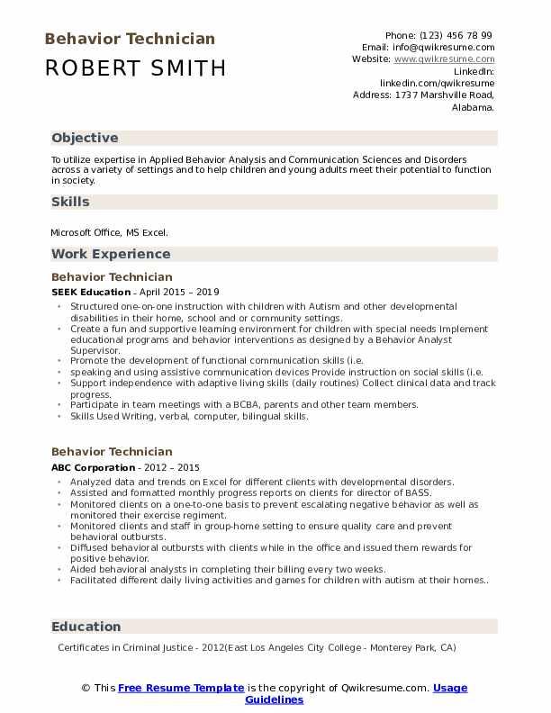Behavior Technician Resume Example