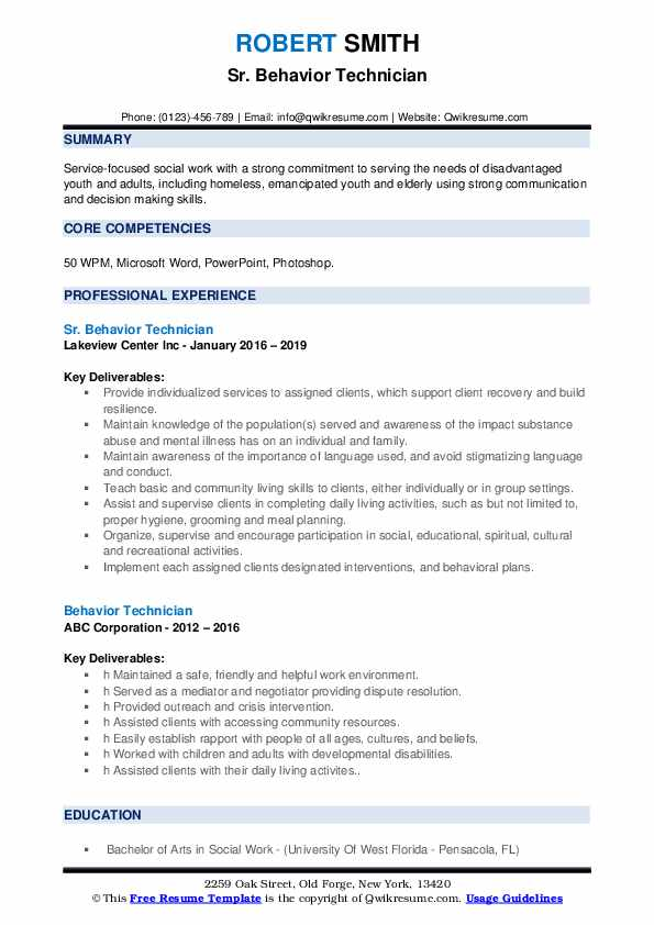 Sr. Behavior Technician Resume Model