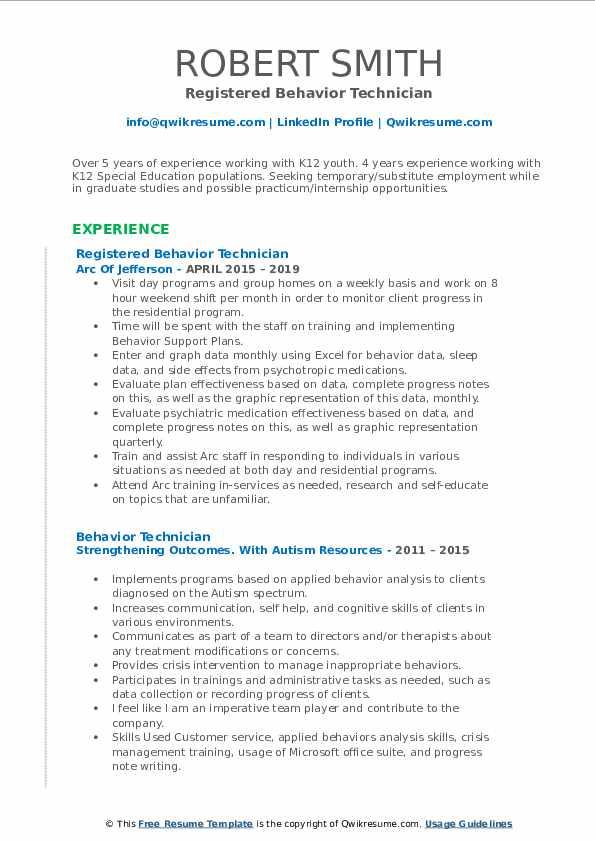 Registered Behavior Technician Resume Template