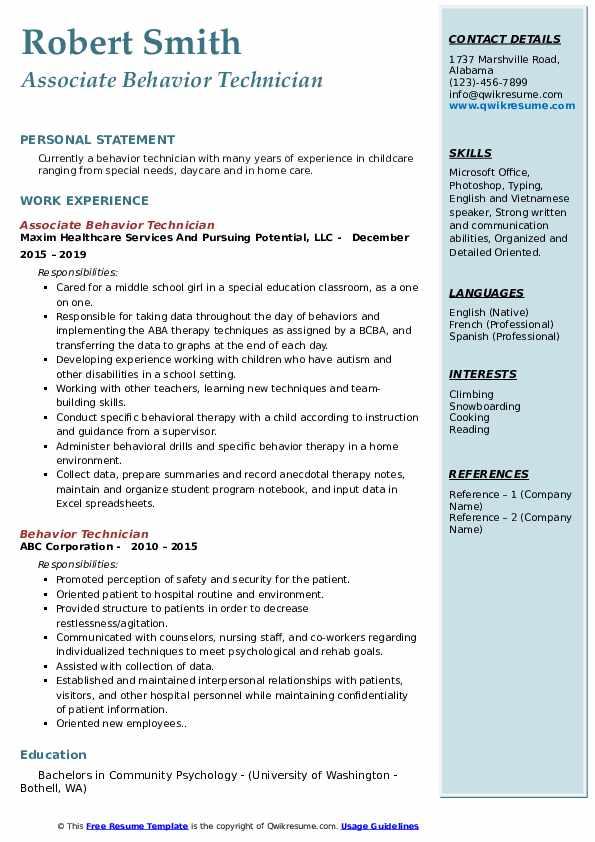 Associate Behavior Technician Resume Example