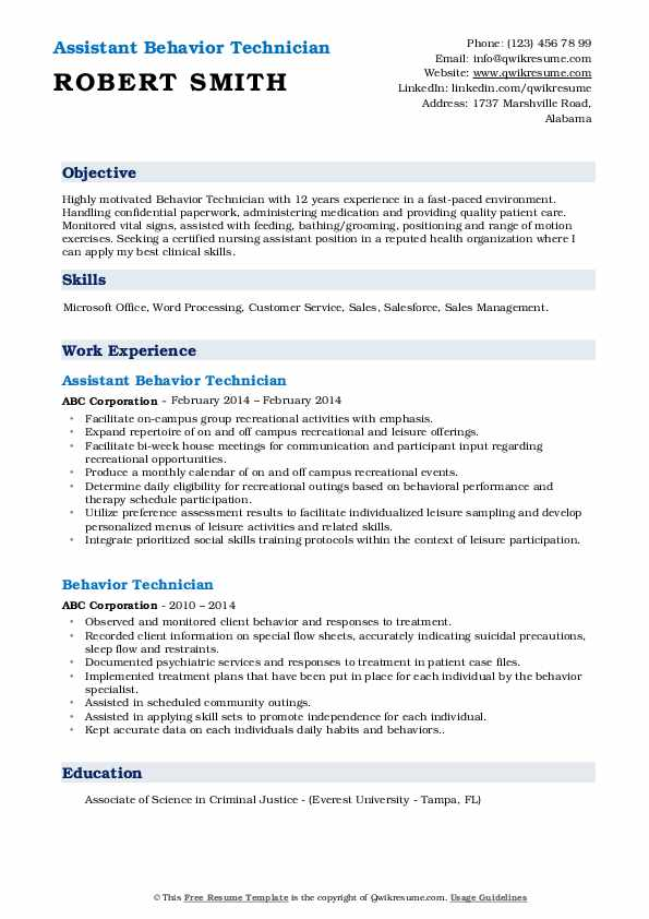 Behavior Technician Resume Samples Qwikresume