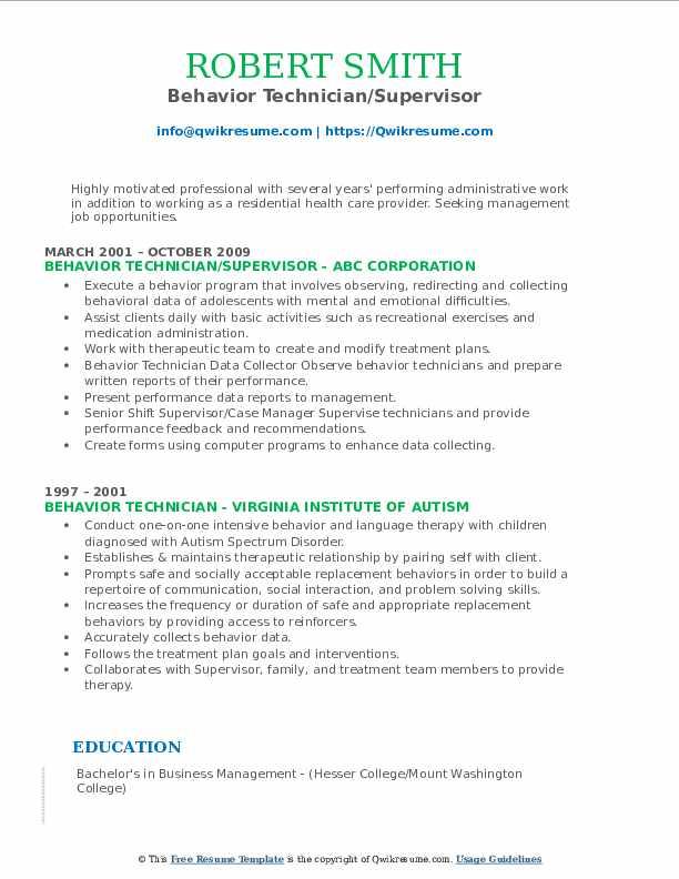 Behavior Technician/Supervisor Resume Format