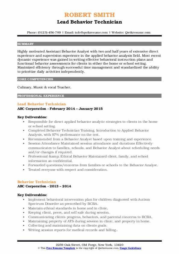 Lead Behavior Technician Resume Format