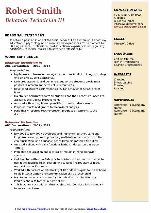 Behavior Technician III Resume Model