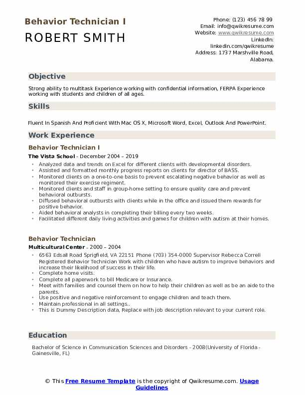 Behavior Technician I Resume Model