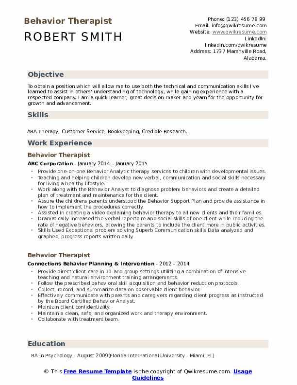 Behavior Therapist Resume Samples | QwikResume