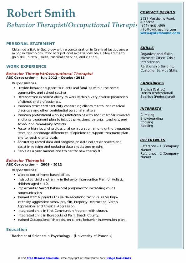 Behavior Therapist/Occupational Therapist Resume Template
