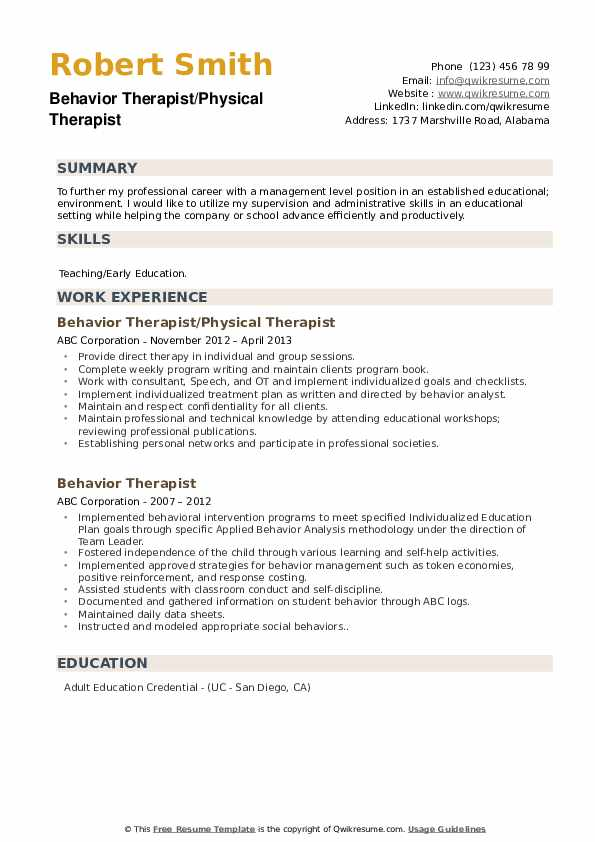 Behavior Therapist/Physical Therapist Resume Sample