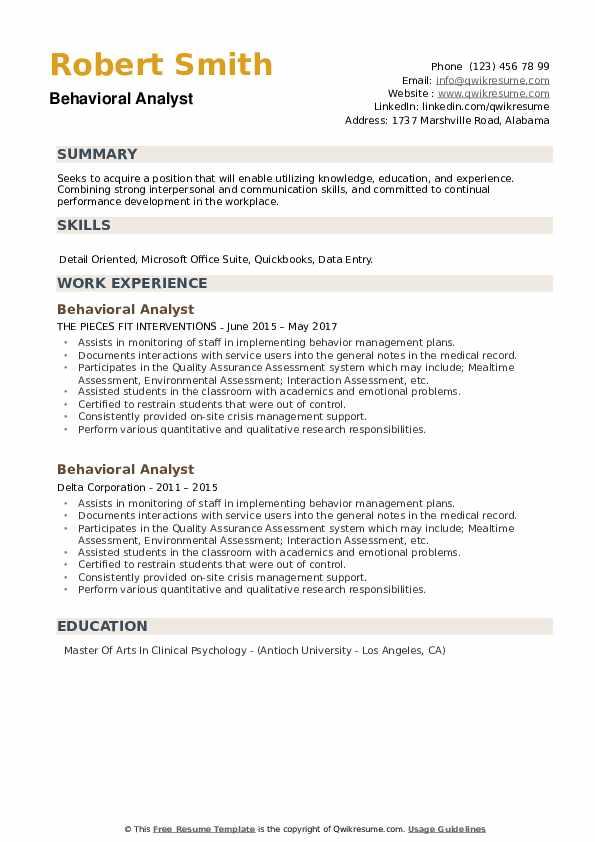 Behavioral Analyst Resume example